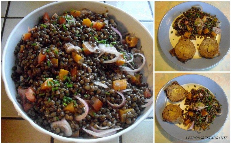 recette salade de lentilles et cou de canard confit, recette