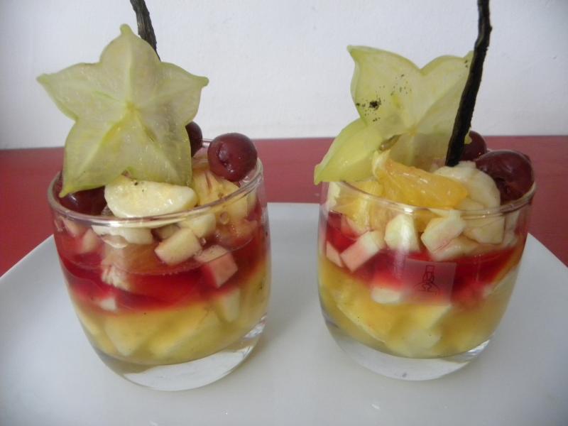 Verrines de fruits exotiques au sirop de rose for Dessert aux fruits en verrine