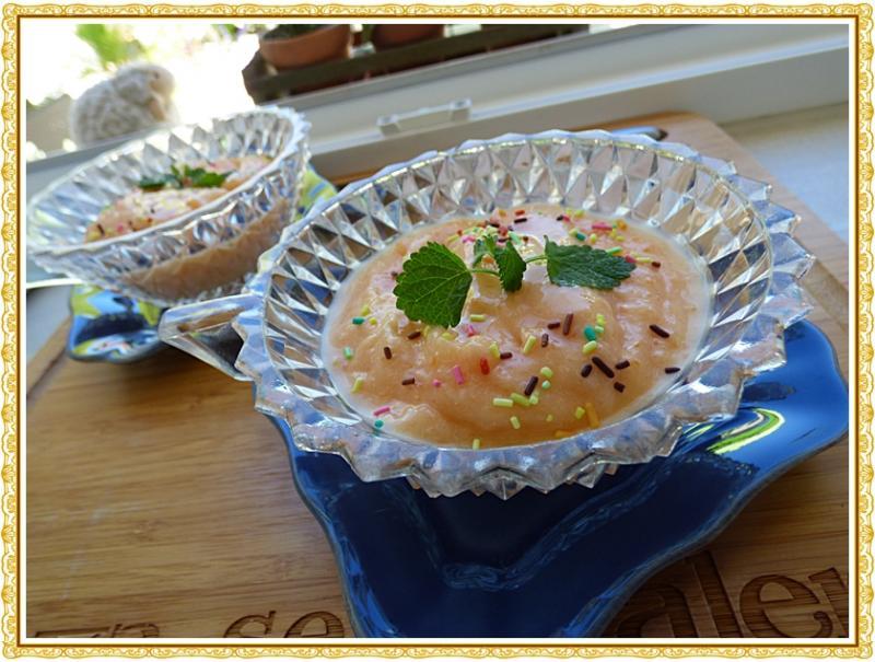 Cr me glac e au melon version avec thermomix la guillaumette - Glace au melon avec sorbetiere ...
