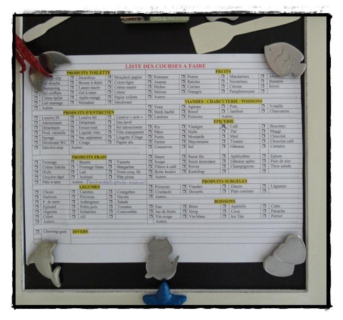 Ma liste de courses 27 janvier 2012 la guillaumette - Ma liste de courses net ...
