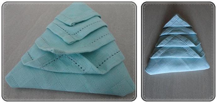 Idee deco pliage de serviette en forme de sapin pour - Sapin en serviette en papier ...