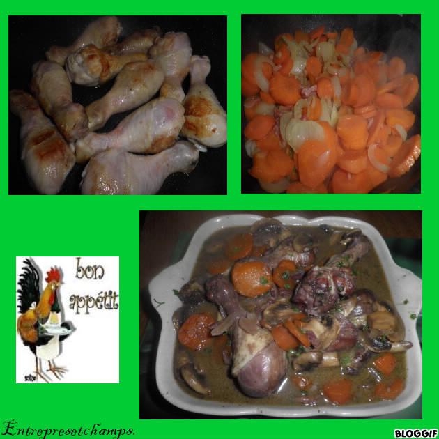 cuisses de poulet au vin rouge carottes et lardons entre pr s et champs. Black Bedroom Furniture Sets. Home Design Ideas