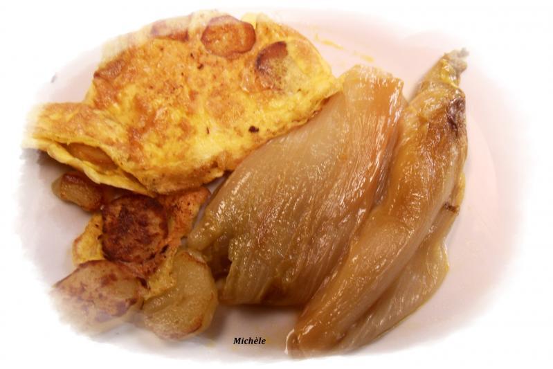 Omelette aux pommes de terre et endives brais es l 39 orange lestilleuls - Pomme de terre a la braise ...