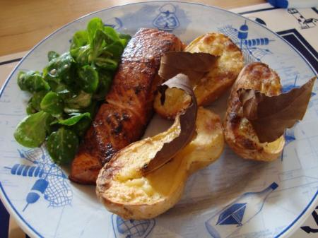 Saumon t ryaki et pommes de terre au four et au laurier la guillaumette - Recette saumon au four avec pomme de terre ...